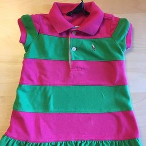 Ralph Lauren Kids Polo Style Pink and Green Dress